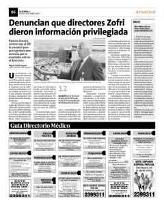 Noticia 05.05.17 Denuncian que directores Zofri dieron información privilegiada