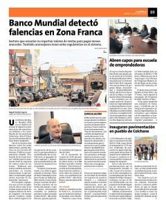 Noticia 10.04.18 Banco Mundial detectó falencias en ZFranca